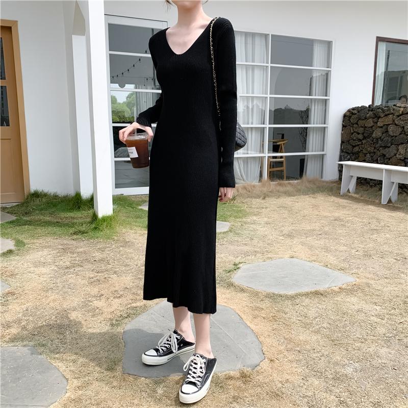 Genayooa Kış Örme Elbise Kadınlar Casual Uzun Kollu Kalem Elbise V yaka Katı Temel Elbiseler Sonbahar Kadın vestidos 2019