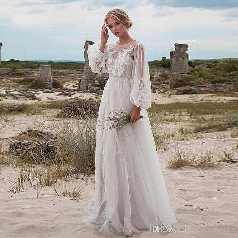 High Quality O Neck Long Sleeve Beach Style Bohemian Boho Simple Wedding Dress Lace Appliques Floor Length Inexpensive Casual Bridal Gowns