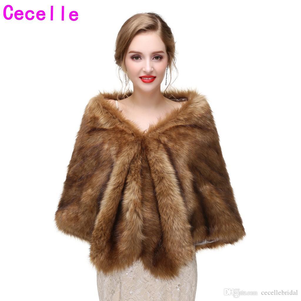 New Brown Bridal Winter Faux Fur Wraps Women Faux Fur Capes For Wedding Party Adult Winter Fur Wrap New Arrival
