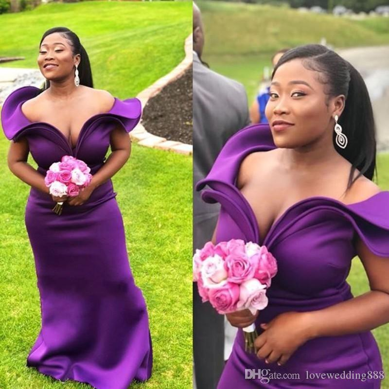 Dark Purple Plus Size Mermaid Bridesmaid Dresses 2019 Tiered Off Shoulder Maid of Honor Dress Zipper Back Wedding Party Gowns