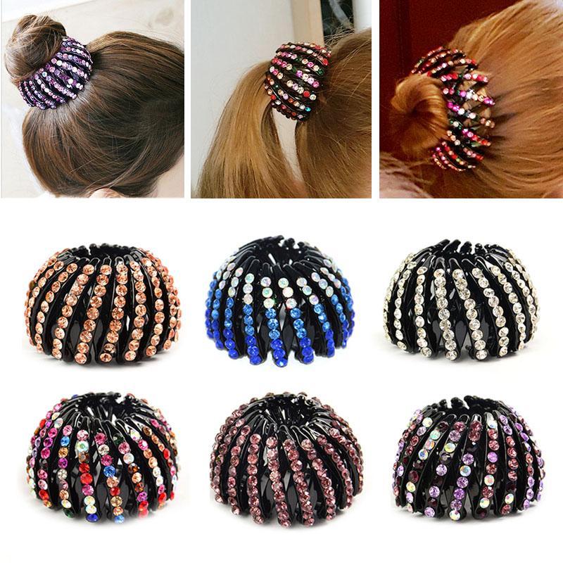 Moda Kristal Kuş Yuvası Saç Klipler Şapkalar Kadın Saç at kuyruğu Tutucu Kıvırıcı Roller Şapkalar Saç Donut Bun Maker Kız S / M / L boyut
