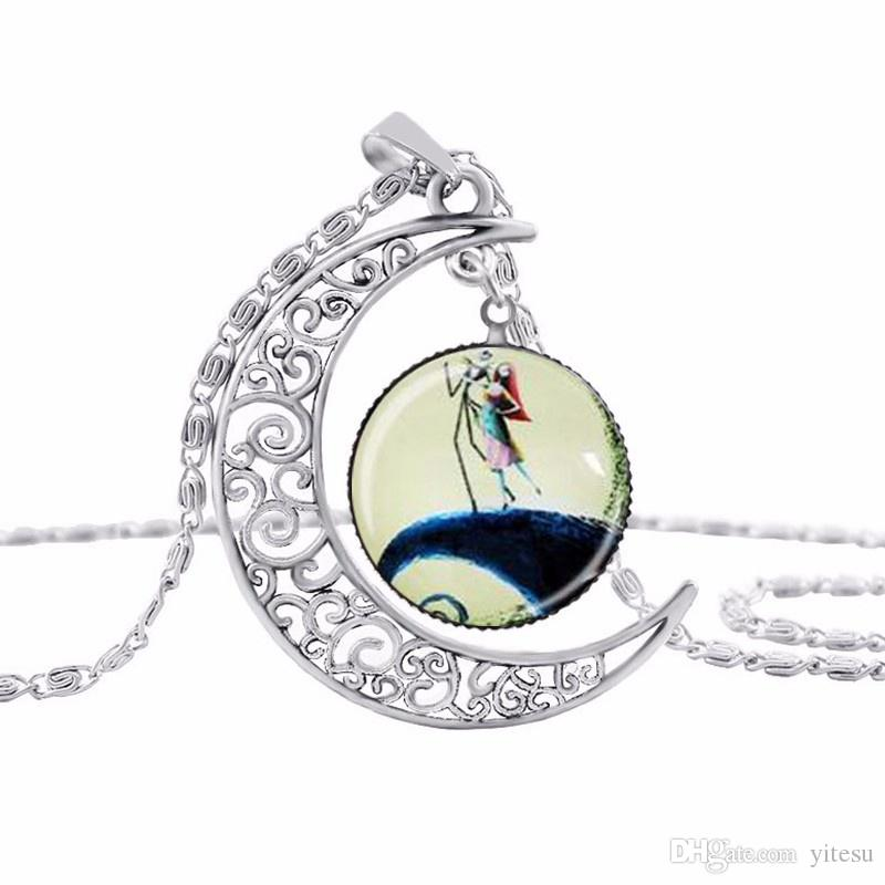 New Style Jewelry The Nightmare Before Christmas Vintage Necklace Hollow Moon Glass Chain Necklace Free Shipping