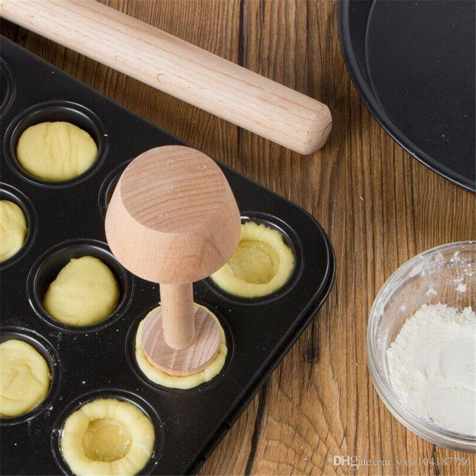 Egg Double Wooden Tamper Portable Tart Mould Pastry Tart Side Egg Mold Kitchen Baking Tools Pusher Eggtart Iwtcj