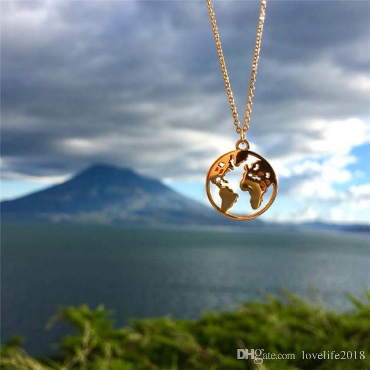 الإبداعية خريطة العالم قلادة قلادة الهندسة دائرة القلائد الرجال النساء الأزواج العشاق مجوهرات الذهب والفضة سلسلة t081