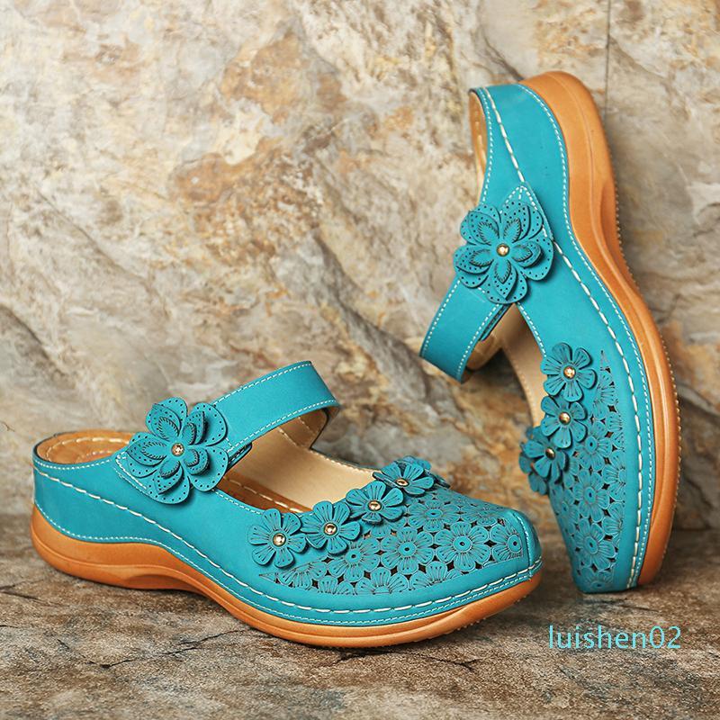 Flores del verano de la vendimia de la cuña del gladiador Casual deslizadores perezosos zapatos agujero de las mujeres sandalias de la plataforma L02