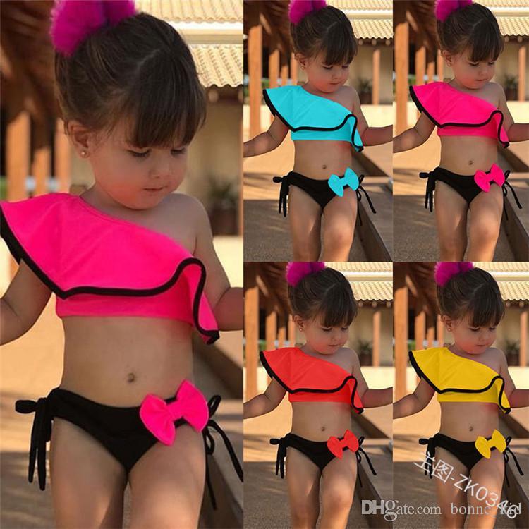 2019 bambini neonate costume da bagno bikini costumi da bagno costume da bagno blu a strisce estate carino due pezzi o di un pezzo set abbigliamento da spiaggia