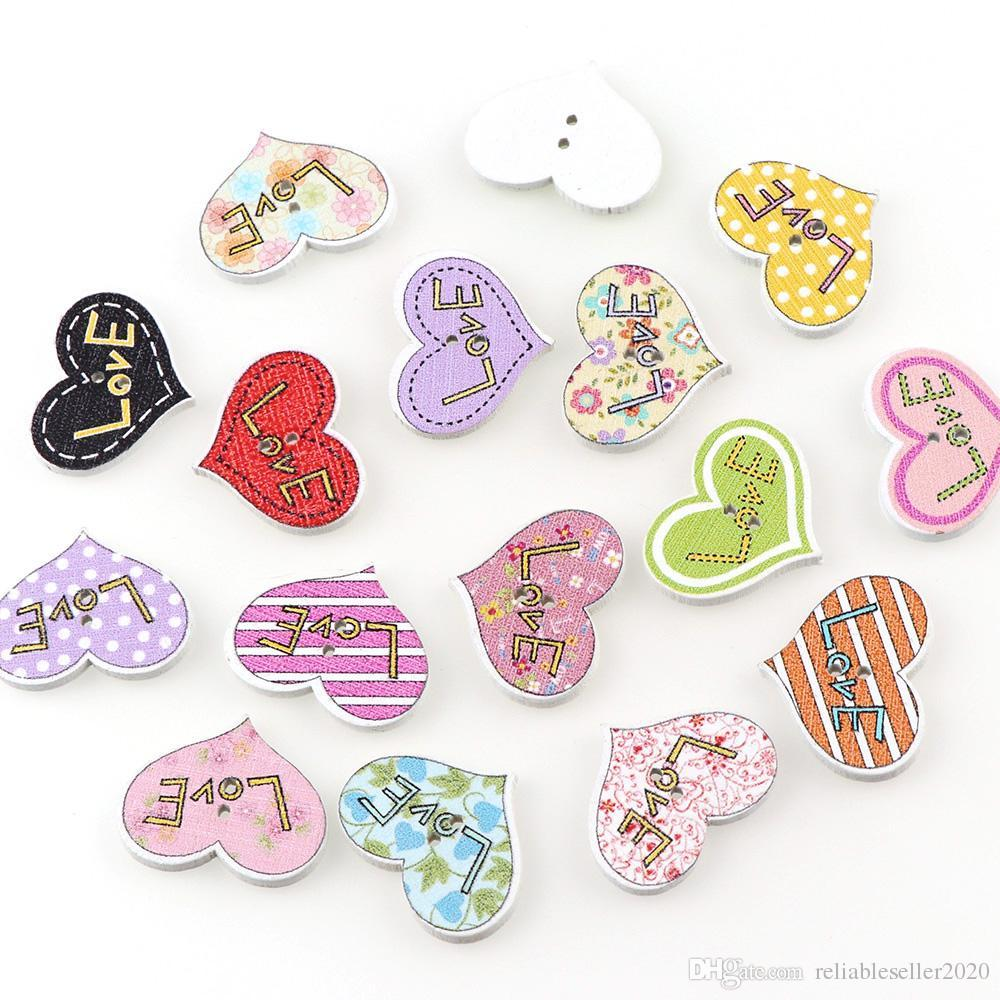 100PC 20x25mm Mixed Color 2 Holes Decorative Buttons Love Heart Shape Cartoon Animals Wood Buttons Sewing Scrapbooking Wedding Favors