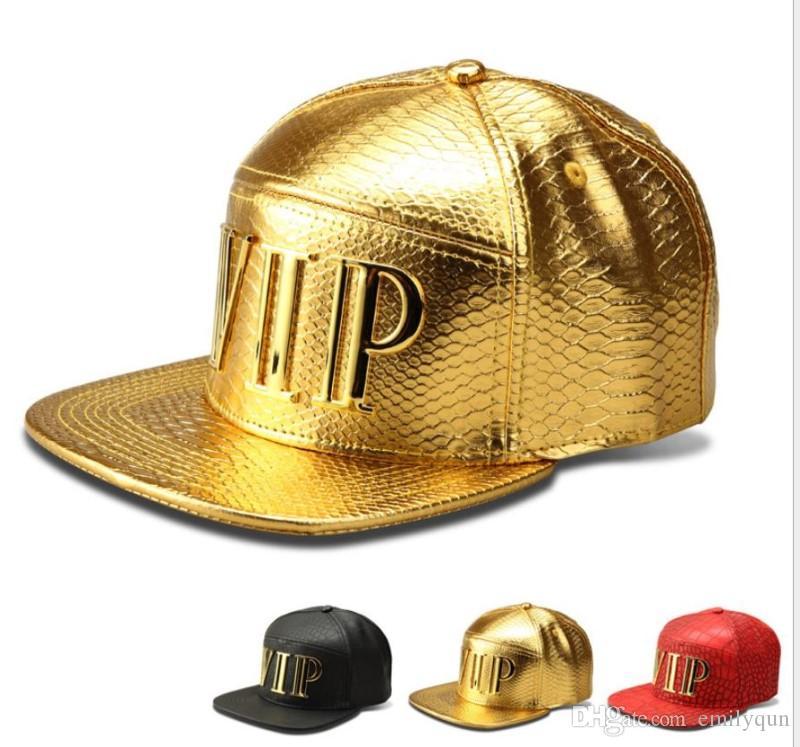 Fashion PU Leather Snapbacks Hip Hop Hats Crocodile Grain Snapback Golden VIP DJ Baseball Caps for Men Women Adjustable Outdoor Sport Hat