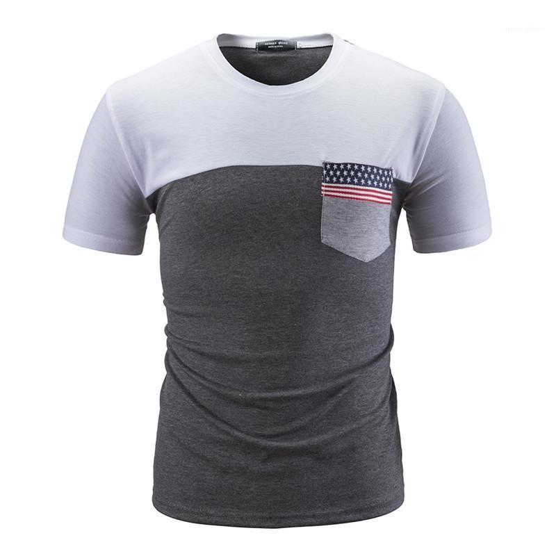 Tasarımcı Ulusal Bayrak Cep Tshirts Yaz Mürettebat Boyun Patchwork Casual Slim Erkek Kısa Kollu Tees Mens Tops