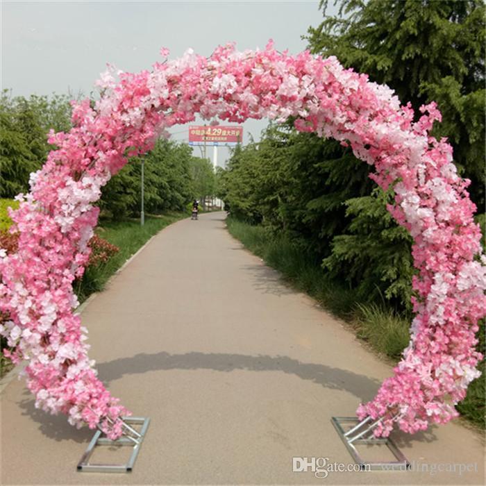 White Cherry Blossom Silk Flower Wedding Arch Iron Round Stand ...
