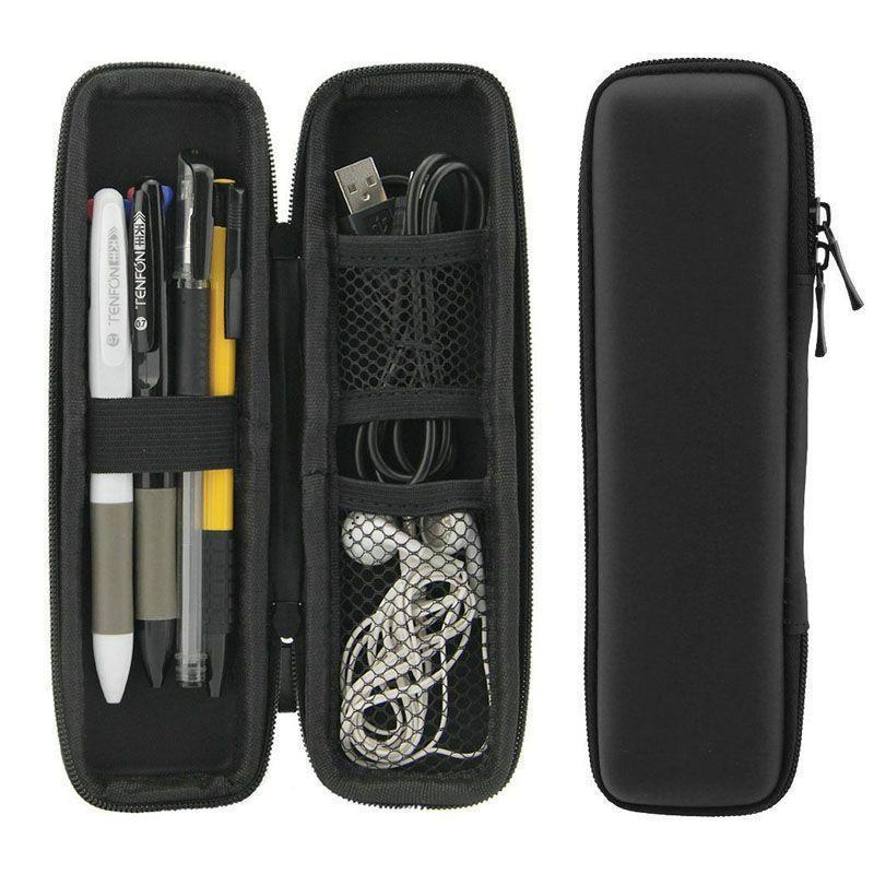 الأسود القلم حالة المحمولة EVA على قشرة صلبة حامل القلم مكتب القرطاسية الحقيبة سماعة ماكياج حقيبة التخزين LX1722 000