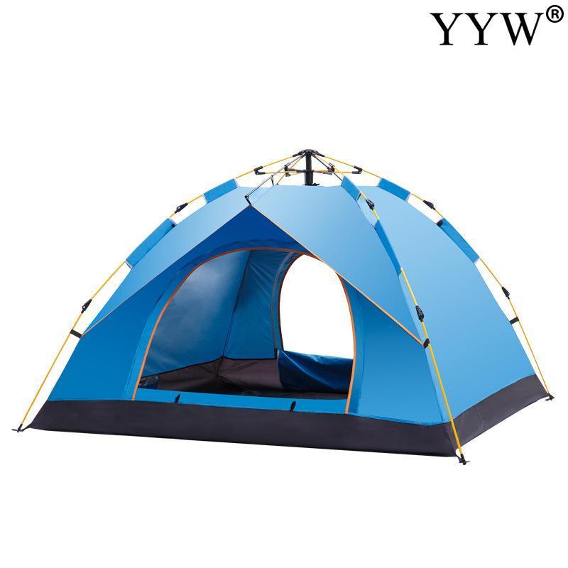 3-4 Pessoa Big automática Camping Tent com 2 Door 4 Janela Anti-UV Mongolian Yurt Tenda Big espaço ao ar livre 210x200x135cm