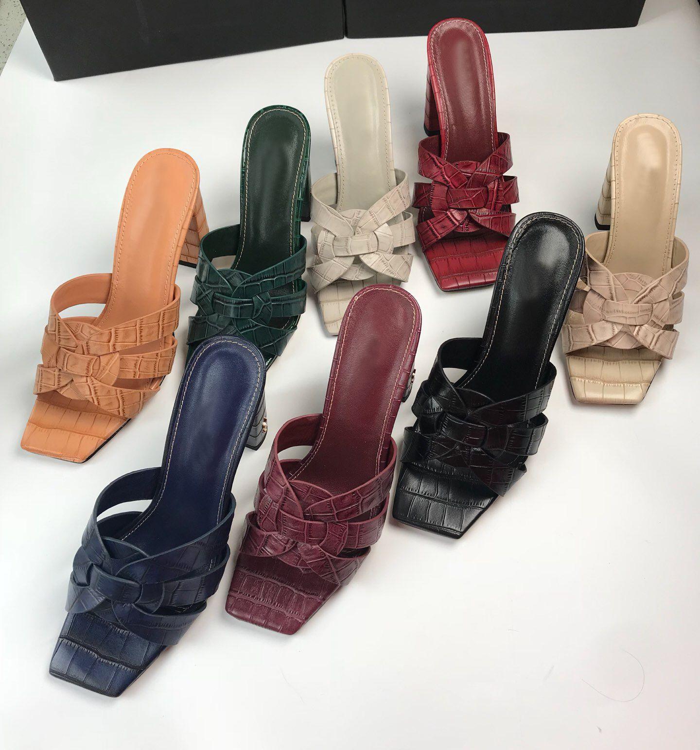 Marka 2020 yüksek kaliteli hakiki deri bayan terlik ayakkabı tasarımcısı kadın Sandals slaytlar topuklar sandalias kadın bayan yaz haraç ayakkabı