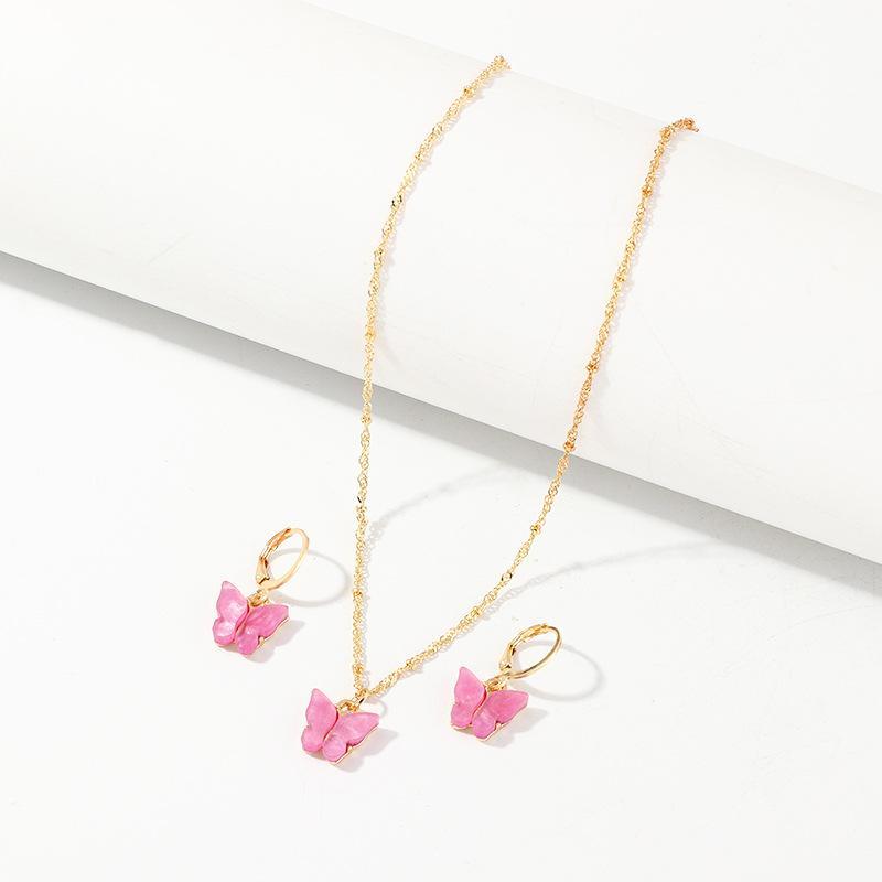 2020 حلق الصيف لطيف Arylic سحر فراشة هوب أقراط القلائد مجموعة مجوهرات الكورية Japanses الفراشة الأزياء والمجوهرات