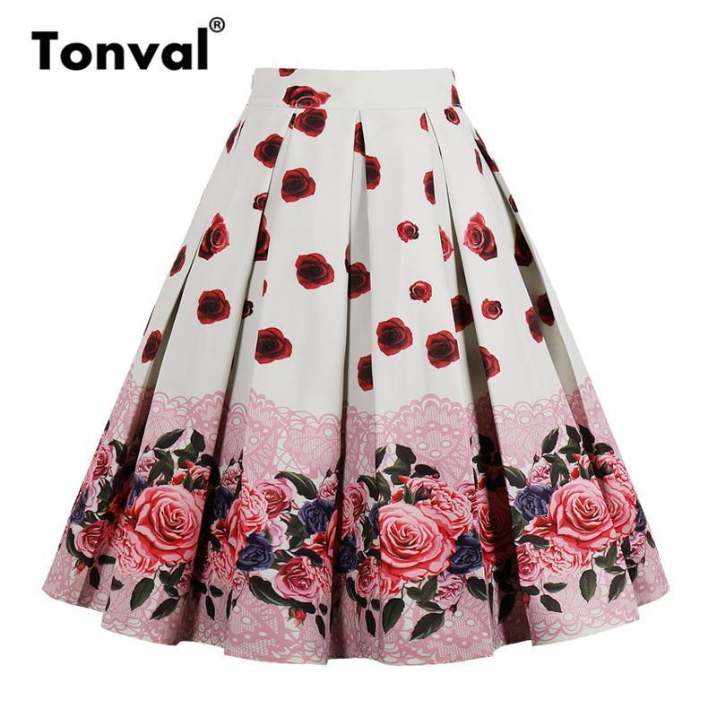 Tonval vita alta Floral pieghe Gonne estate delle donne Rosa rossa Donne Vintage Gonna Midi Plus Size 4XL Gonne MX200327