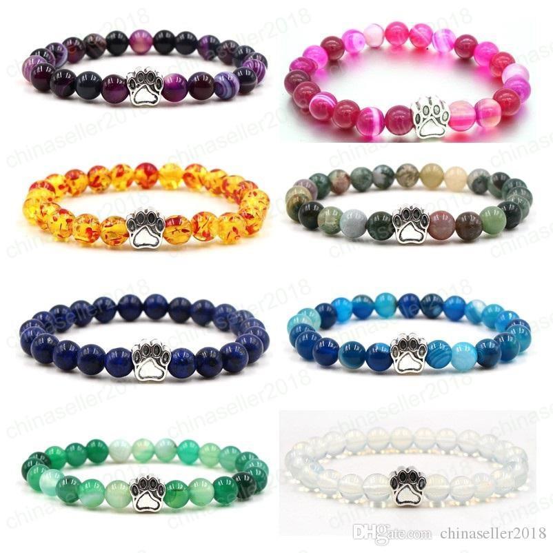 8 couleurs Stripe Agate Pierre Yoga Bracelet Chien Main Patte Charmes Élastique Corde Opale Perle Bracelet Mode Hommes Femmes Bijoux