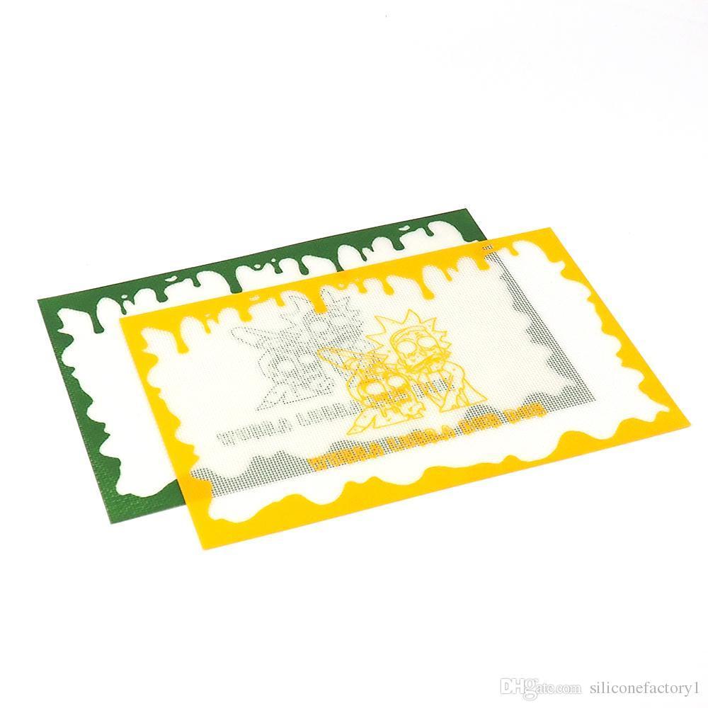 Silikon ped Baskılı mat FDA gıda sınıfı kullanımlık yapışmaz konsantre bho balmumu kaygan yağ isıya dayanıklı fiberglas silikon dab ped mat