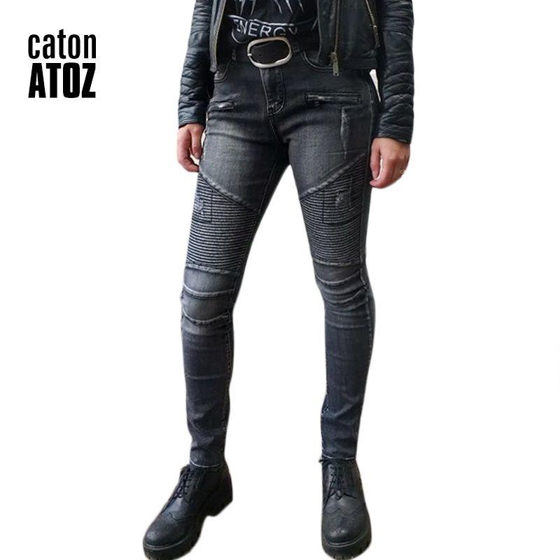 Compre Catonatoz 2168 Moda Mujer Punk Negro Motor Biker Jeans Las Mujeres Stretch Slim Fit Ripped Denim Pantalones Skinny Jeans Para Mujer Y19042901 A 18 29 Del Huang02 Dhgate Com
