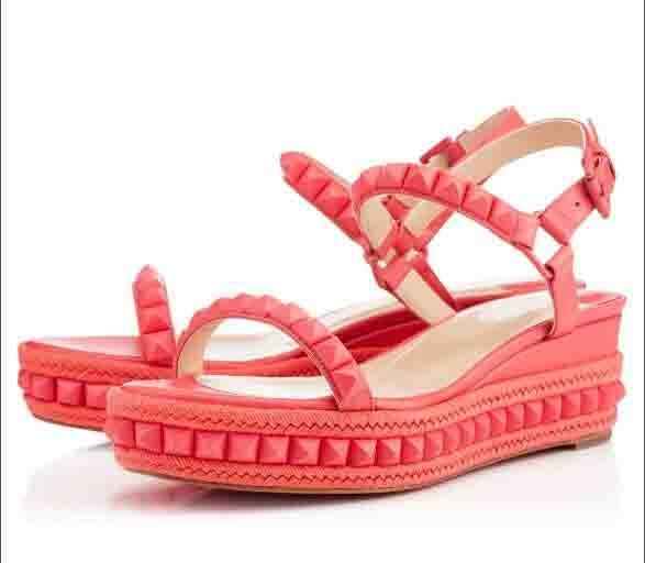 sandalias de verano cataclou 60mm pinchos pinchos de cuña del cuero genuino de las mujeres luxuious Diseño rojo de la señora zapatos inferiores cómoda de la boda vestido de fiesta