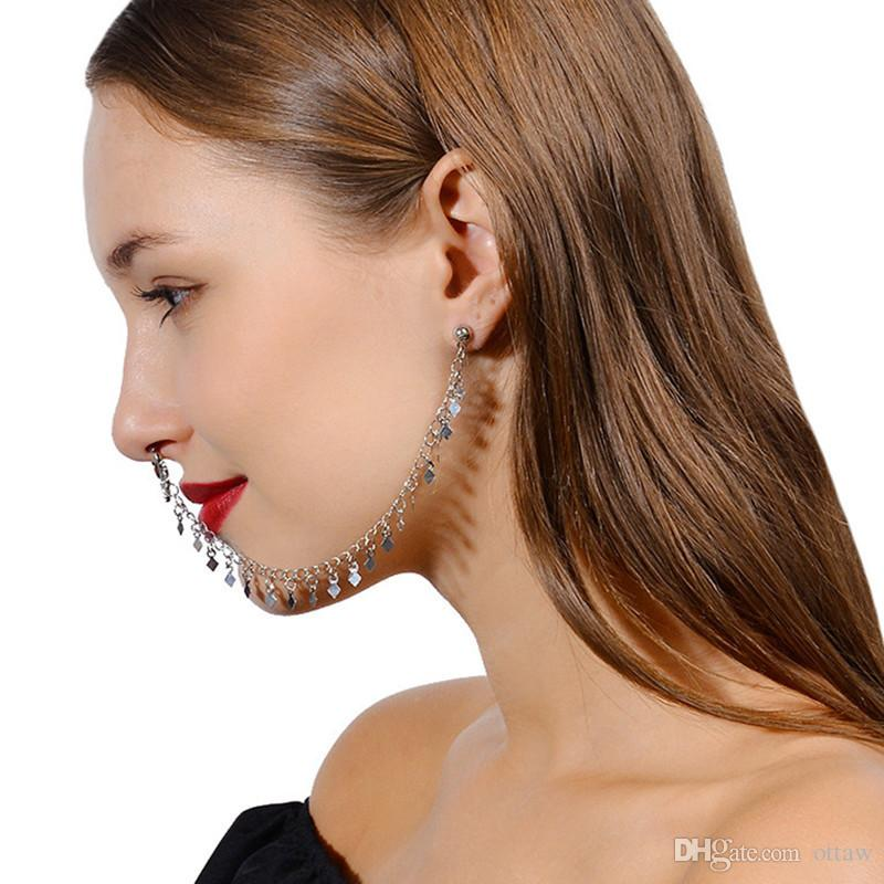2020 False Nose Ring With Chain Earrings Set Traditional Indian