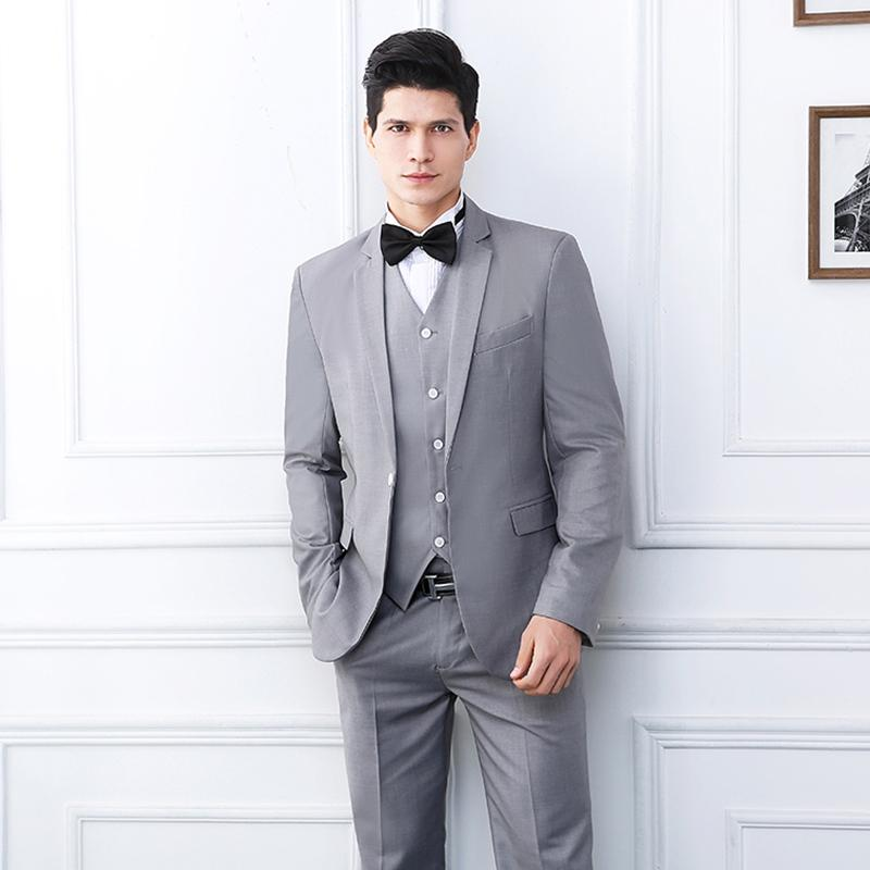 Gris clair Mens mariage Smokings Slim Fit Un bouton Groom porter des costumes officiels Blazer Best Men (veste + pantalon + veste)