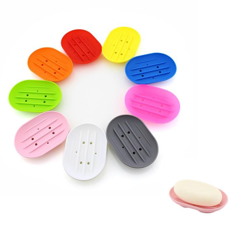 Silikon-Seifenschalen Flexible Seife Platte Badezimmer Seifenhalter Gleitschutzvorrichtung Seifen Geschirr Badezimmer Küche Seifen-Behälter