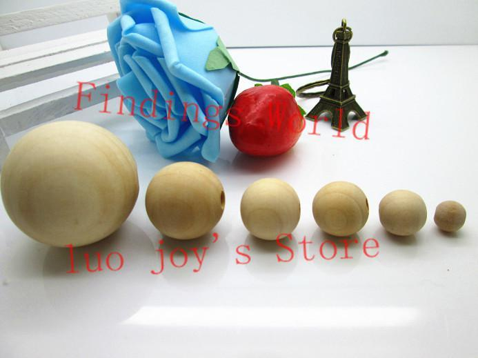 Perles en bois rondes en gros de couleur nature en gros-gros 8/10/12/14/16/18/20/25/30 / 40mm pour la fabrication de bijoux de mode (B00103)