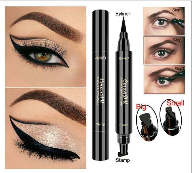 Doble cabeza Negro Eyeliner pen Líquido Super Cat Style Stamp Pen Eyeliner Pen Cat Ojo Herramienta de maquillaje cosmético KKA6824