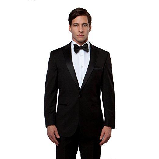 Clássico pico lapela smoking ternos de casamento do noivo homens ternos mens smoking figurinos de fumar pour hommes homens (jaqueta + calça + gravata) 399