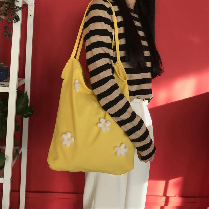 2020 new female bag small petal girl wild student large capacity canvas convenient bag