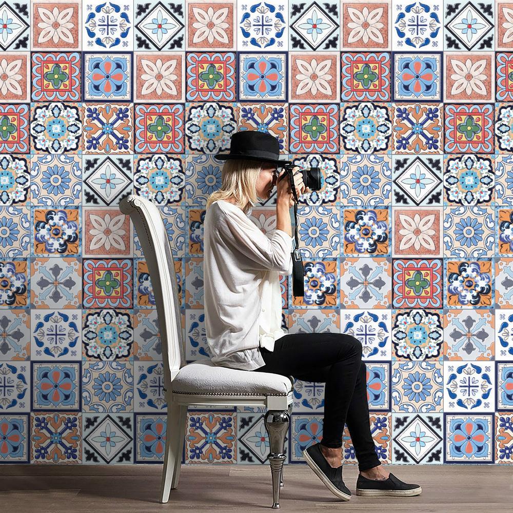 3d tridimensional Wall Desde pasta de papel tapiz Simulación Europea patrón decorativo del azulejo Subvenciones Cocina Defensa aceite Sticker