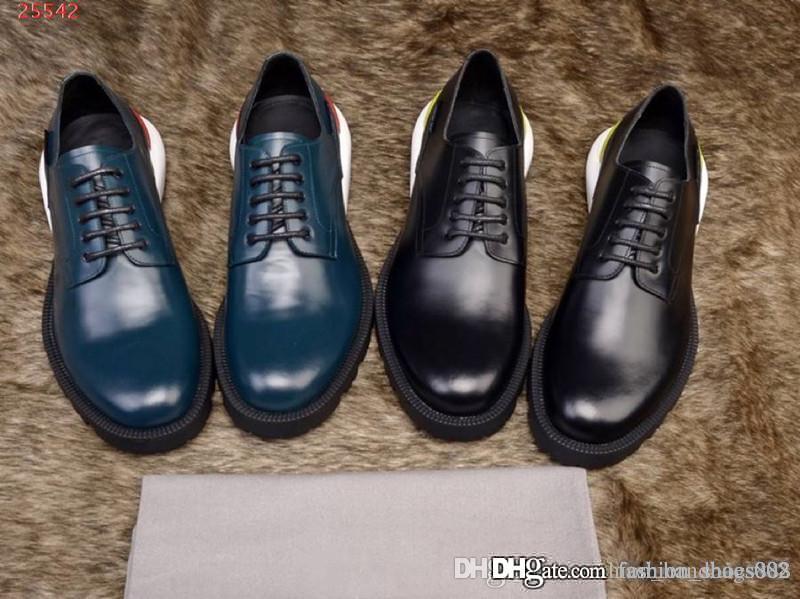 Nuevo estilo transpirable zapatos de hombre de cuero formal de negocios Zapatos Oxford de encaje Rayas impresas zapatos de cuero casuales de boda