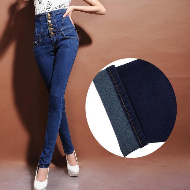 Women '; S Winter Warm Fleece o sin forro de cintura alta Jeans Plus encaje de gran tamaño - Botones ajustados pantalones de lápiz de mezclilla elásticos ajustados