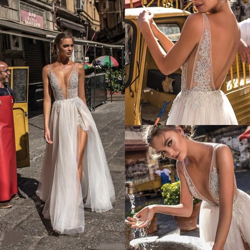 Berta 2020 New Lace Vestidos de casamento Backless V decote ilusão corpete até o chão Sexy Open Back Frente Dividir vestidos de noiva