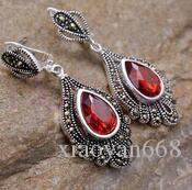 hj 00602 Elegant oval bead stone gem coral dangle stud pierced earrings CAN CHOOSE
