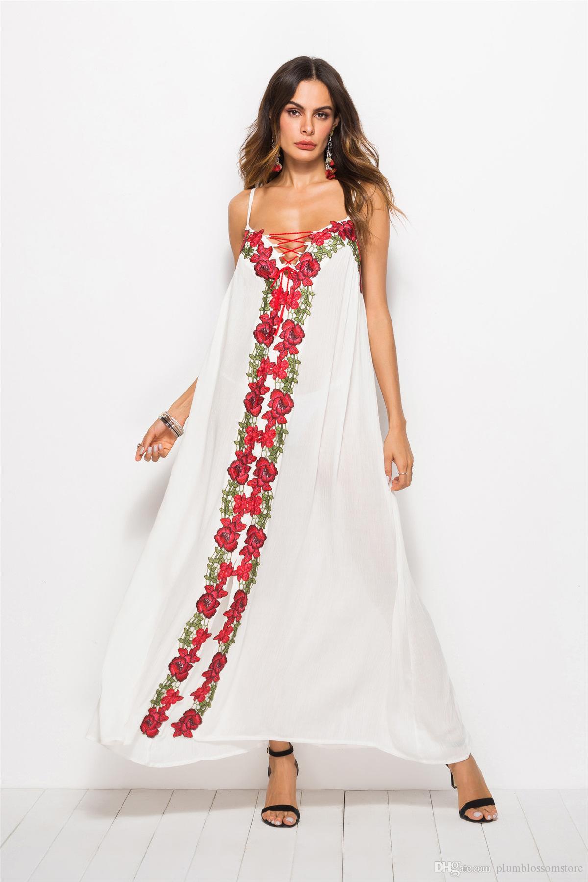 Plus Size Fashion Ethnic Embroidery Dresses Bohemian Long Maxi Women Boho  Dress 2019 New Summer Casual Sundress Beach Holiday Seaside Robes  Graduation ...