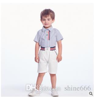 Baby Boy Desiger Одежда Наборы Новорожденный Полосатый Baby Boy Короткая Одежда 2 ШТ. Наборы Летний Младенец Мальчик Футболки + Шорты Наряды Наборы Спортивный Костюм