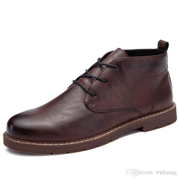 Automne Hommes Bottes Décontractées Mode Loisirs Cheville Bottes Respirant À Lacets Martin Bottes Homme En Cuir High Top Chaussures
