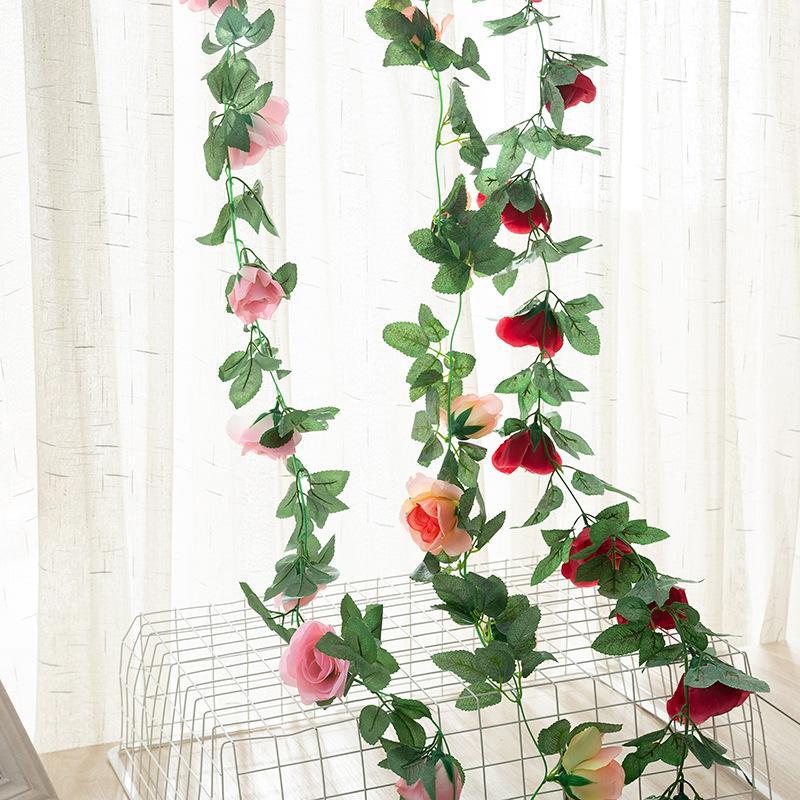 220cm Vignes Faux 16pcs Silk Rose Head Tenture Fleurs artificielles vigne Blanc / Rouge rotin Ivy avec des feuilles vertes