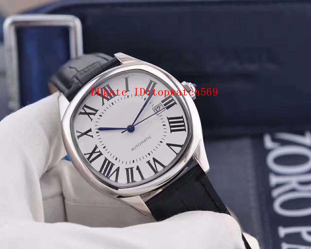 Top Drive De reloj del reloj para hombre del reloj suizo 2824-2 automático 28800 vph 316L de acero de 100 mm de zafiro resistente al agua Correa de cuero de Italia