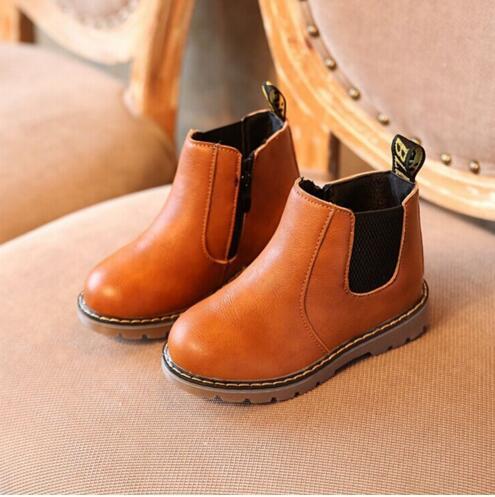 kürk Çocuklar Sonbahar Kış Moda Oxford Ayakkabı Çocuk Elbise Boots Kız Moda Martin Çizme PU Ieather Patik Siyah Kahverengi Gri
