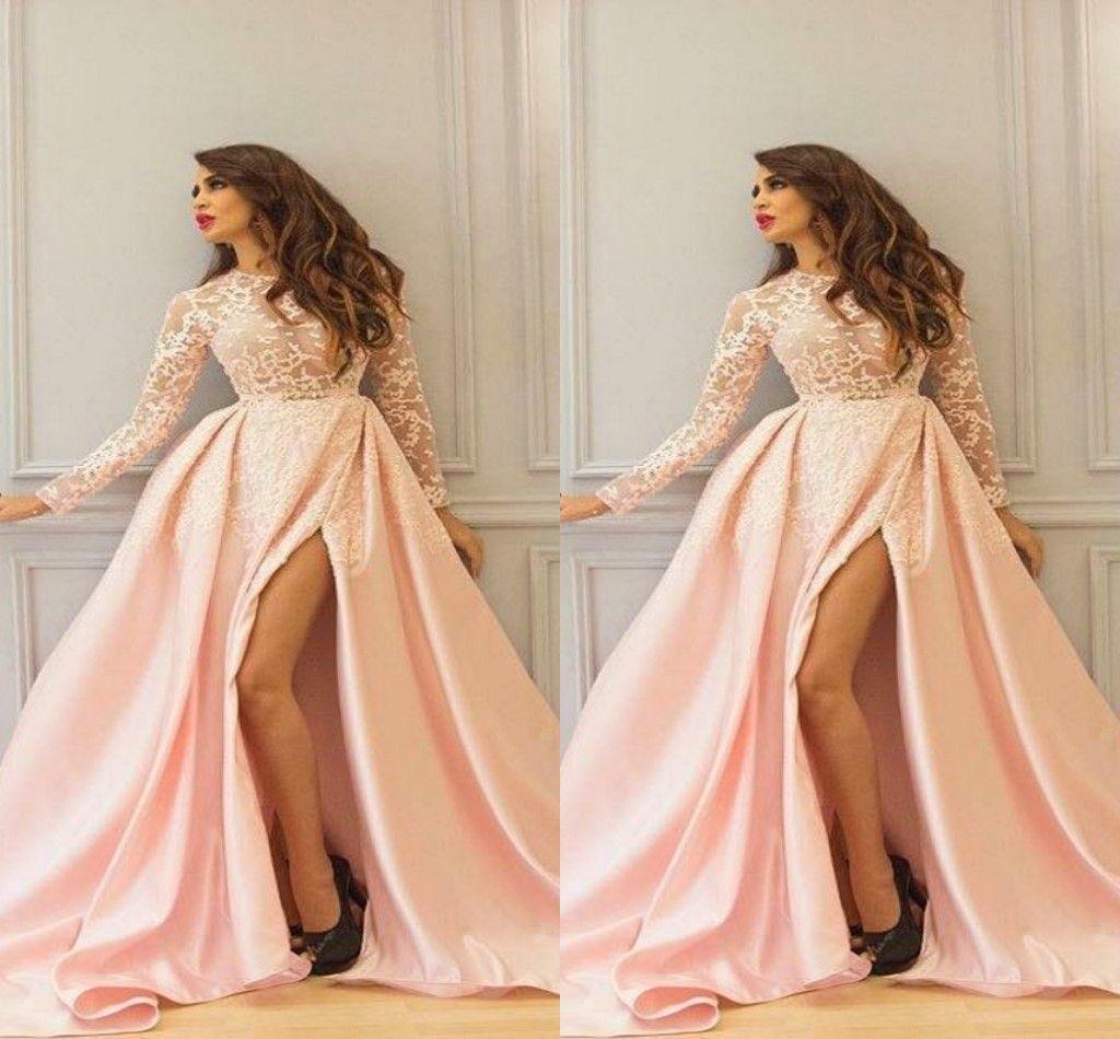 섹시한 사이드 스플릿 레이스 긴 소매 이브닝 드레스 공식 가운 2019 보석 탑 볼 가운 드레스 저녁 착용 파티 댄스 파티 드레스