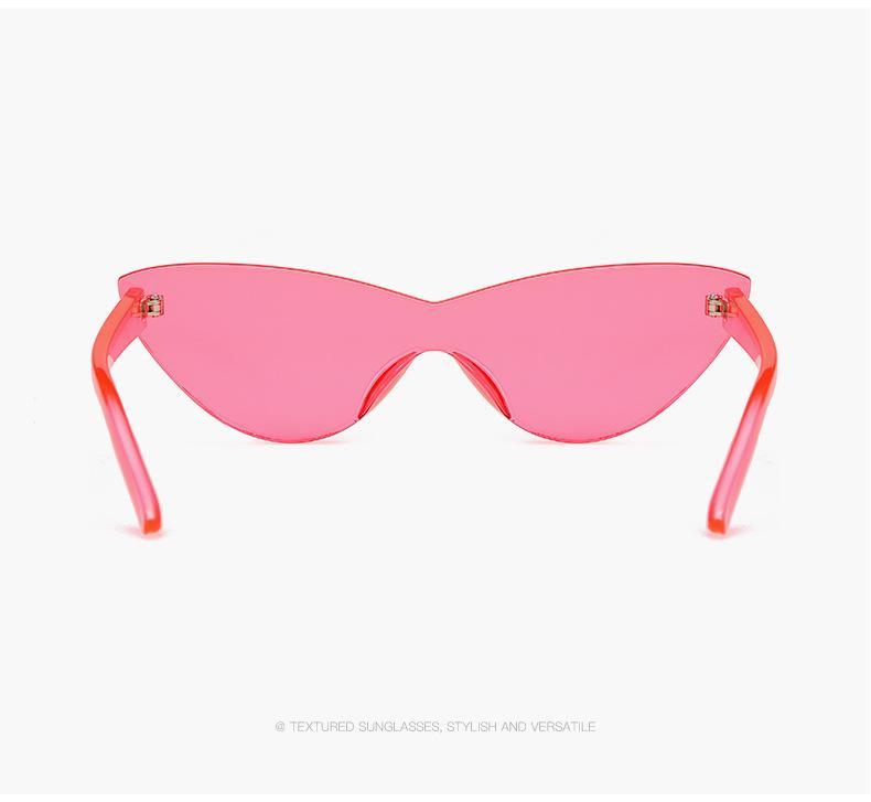 Kedi gözü Şekli Güneş 2020 Kadınlar Çerçevesiz Çerçeve Tonlaması Şeffaf Lens Renkli Güneş Gözlük Açık Gözlük 6 renk 8721