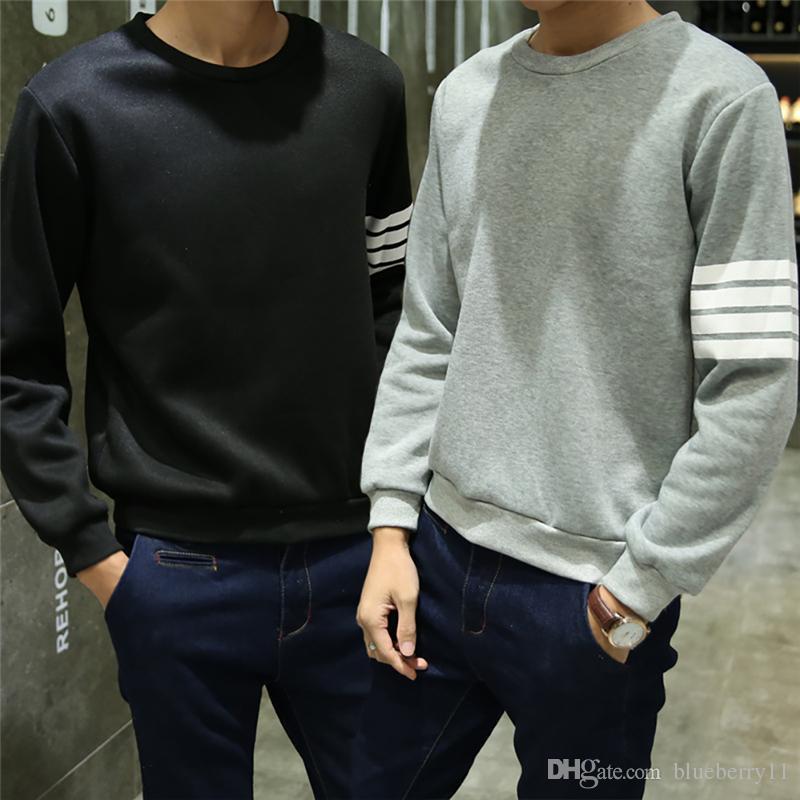 Erkekler Rahat Hoodies Hip Hop O Boyun Uzun Kollu Kazak Tişörtü Çizgili Üniforma Kış Sonbahar Japon Tarzı Mavi Gri Siyah L-2XL