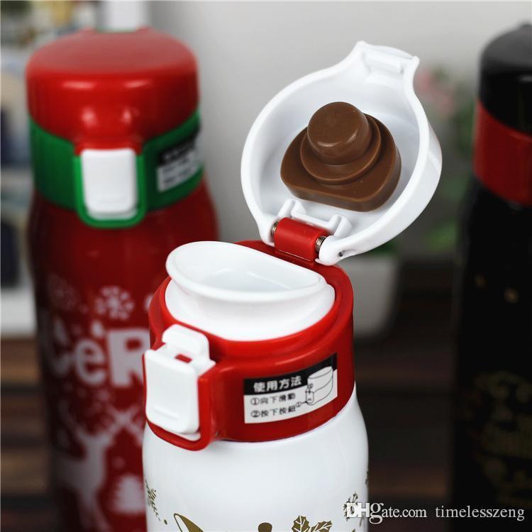 هدايا عيد الميلاد زجاجة المياه 500ML الفولاذ المقاوم للصدأ الحراري كأس السفر القدح فراغ كأس قوارير صور عيد الميلاد