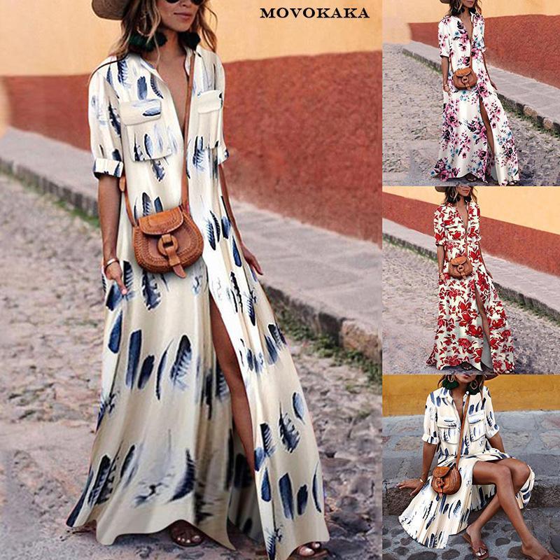 Primavera autunno vendita calda colore abito a righe donna pulsante abiti casual per le donne Elegante Boho Dress abiti lunghi grandi dimensioni delle donne
