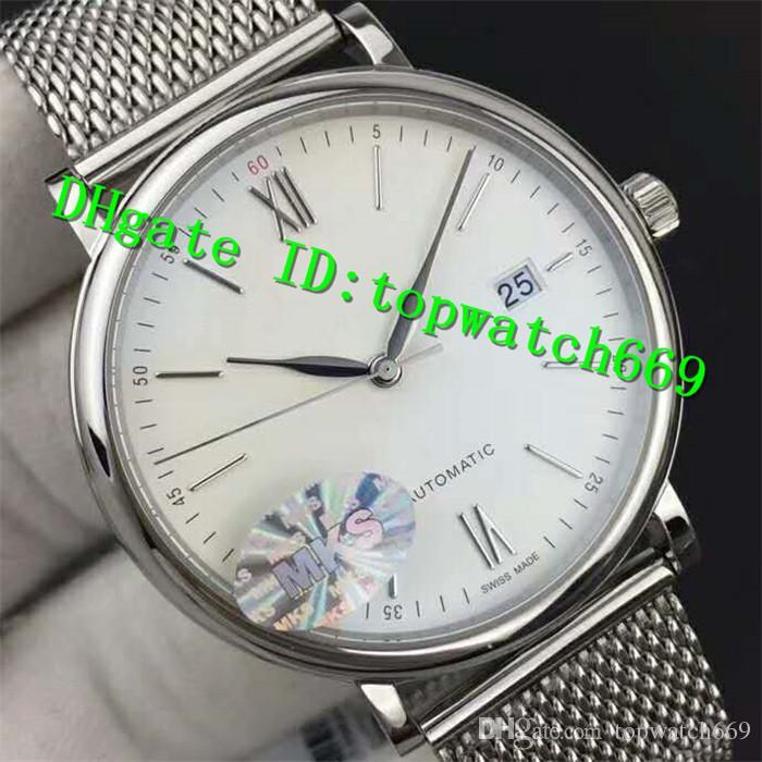 MKF Novo Luxo 356505 Relógio Suíço ETA 2892 Automático Sapphire Crystal Aço Inoxidável Branco Dial Pulseira De Aço Inoxidável Mens Watch