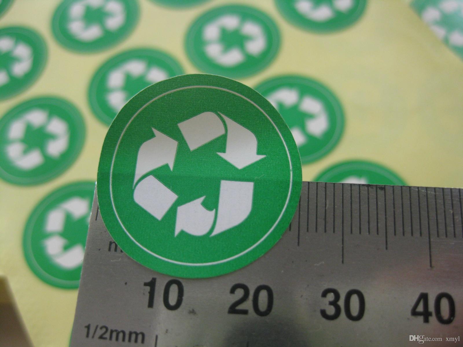 1000 шт. / Компл. 25 мм RECYCLE символ, знак охраны окружающей среды, зеленый цвет самоклеящаяся наклейка, артикул №GU15