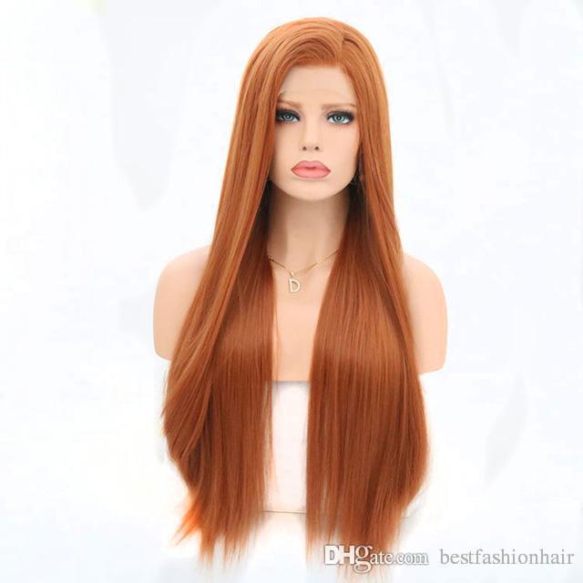 Laranja peruca para mulheres brancas Synthetic cabelo longo e reto Natural Hairline Penteados Laranja rendas frente perucas sintéticas baratos ao Lado