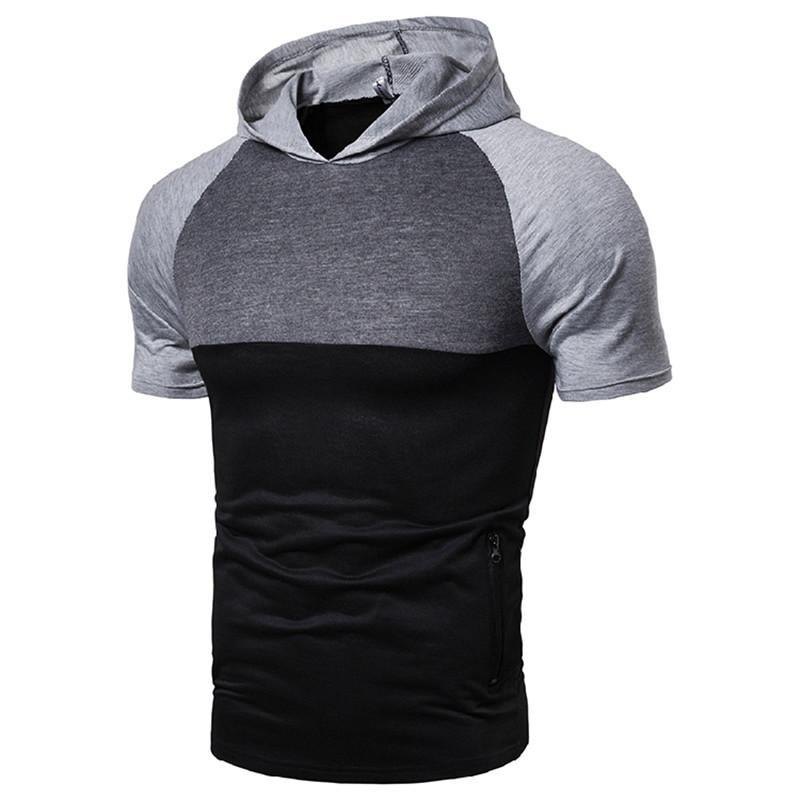 Hooded Designer T Shirts Summer Fashion Breathable Mens Tees Casual Teenager T shirt Mens Clothes Panelled Zipper Pocket